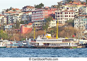 Uskudar port in Istanbul - Uskudar port with a passenger...