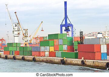 Cargo Containers - Containers stacked in Sea port