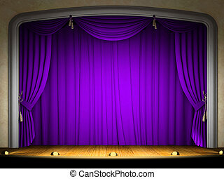 Empty stage with violet curtain in expectation of...