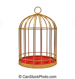 Golden cage isolated on white background