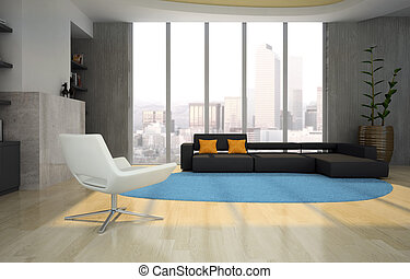 Interior of the living-room 3D rendering