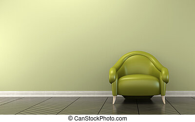 Conceptual interior with green armchair 3D rendering