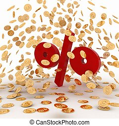 Falling golden coins on percent. Conception of growth of...