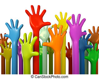 Colourful hands isolated on white background