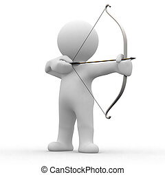 3d archery - 3d human prepare for shooting an arrow
