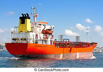 Tanker Ship sailing into open sea