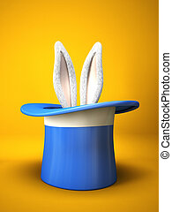 Blue top hat with rabbit ears isolated on yellow background...