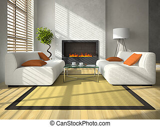 Interior of the modern living-room with fireplace 3D...