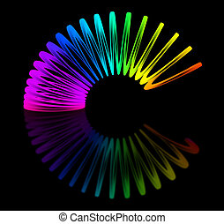 Multicolored slinky isolated on black background 3D...
