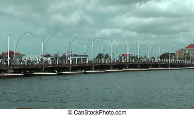 Queen Emma Pontoon Bridge in Willemstad, Curacao cross St...