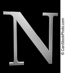 Letter N in brushed steel isolated on black with clipping...