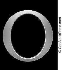 Letter O in brushed steel isolated on black with clipping...