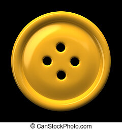 Yellow button for clothing isolated on black background 3D...