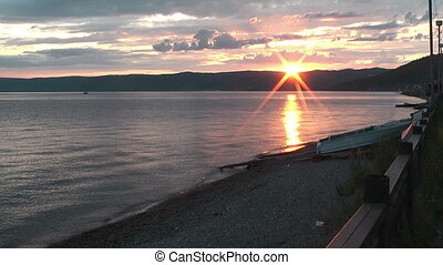 sunset at lake baikal in siberia - Beautiful sunset at lake...