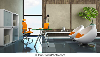 Modern interior of the private office 3D rendering