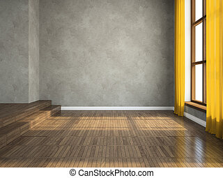 Empty room 3D rendering