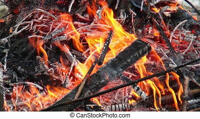 burning branches on a pyre