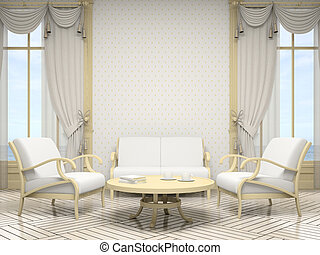 Part of the modern interior in white colour 3D