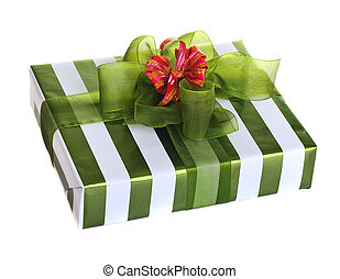 box gifts with satin bow isolated on white background