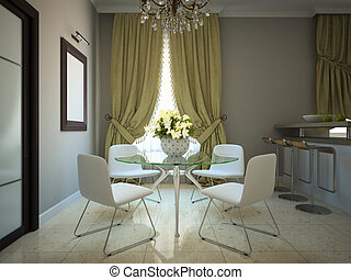 Dining-room in the modern country-house 3D