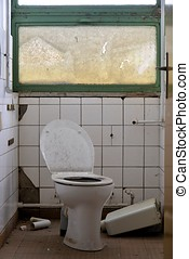 Toilet in an abandoned factory