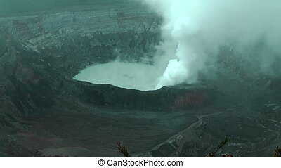 Main Crater Lake of Volcano Poas in Costa Rica Details of...