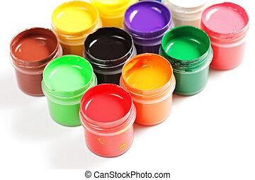 Gouache - Various gouache paints in plastic containers