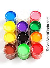 Gouache formation - Various gouache paints in square...