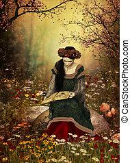 à, kobieta, czytanie, książka