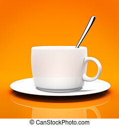 White cup isolated on orange background 3D