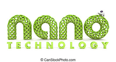 Inscription nanotechnology isolated on white background 3D