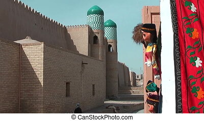 Historic wall in Khiva Uzbekistan - Historic wall in the...