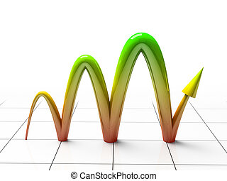Business Graph showing profits and gains 3D rendering