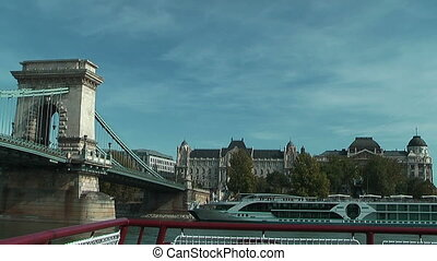 Under the chain bridge Budapest - Passing the chain bridge...