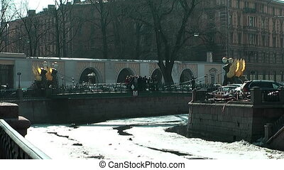 bank bridge in st. Petersburg in winter