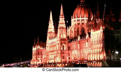 Hungarian Parliament in Budapest at night view from the...