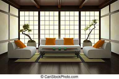 Interior in Japanese style 3D rendering