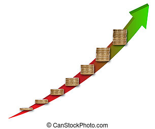 Capital growth chart concept with coin stacks - Capital...