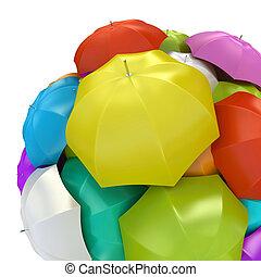 Colorful umbrellas in sphere 3D rendering