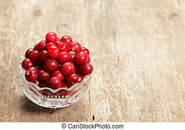 Cherry in a glass bowl - Heap of cherry with removed sprigs...
