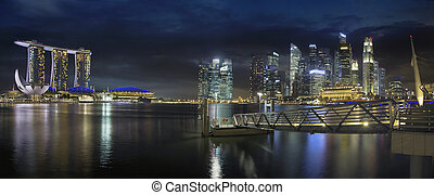 Singapore Skyline by the Esplanade Panorama