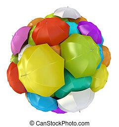 Colorful umbrellas in sphere