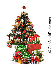 Christmas fir tree - decorated Christmas fir tree with gifts...