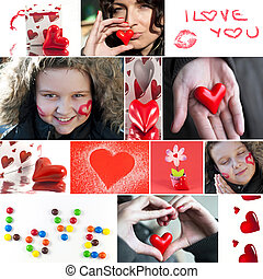 Valentine collage - Valentine`s day collage Heart, candies,...