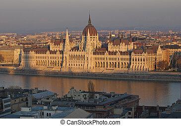 famoso, edificio, Húngaro, Parlamento, tarde, luz