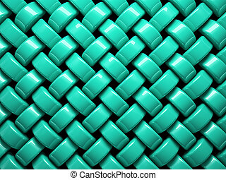 Abstract pattern of turquoise weaving pieces illustration