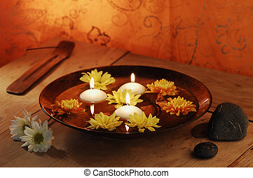 Aroma Bowl With Candles, Flowers, Stones And Joss Stick
