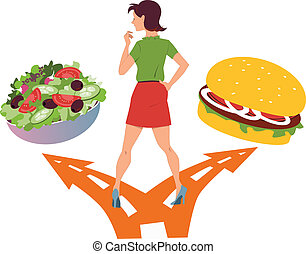 Healthy food or fast food - Young woman standing at the fork...