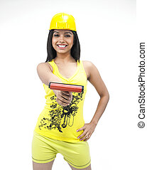 female construction worker with a painting roller