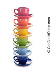 colorful rainbow cups - colourful rainbow cups isolated on...